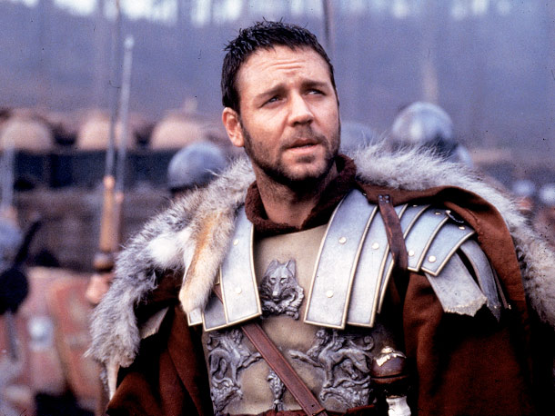 Gladiator, Russell Crowe | Fighting to regain your honor doesn't leave much time for manscaping.