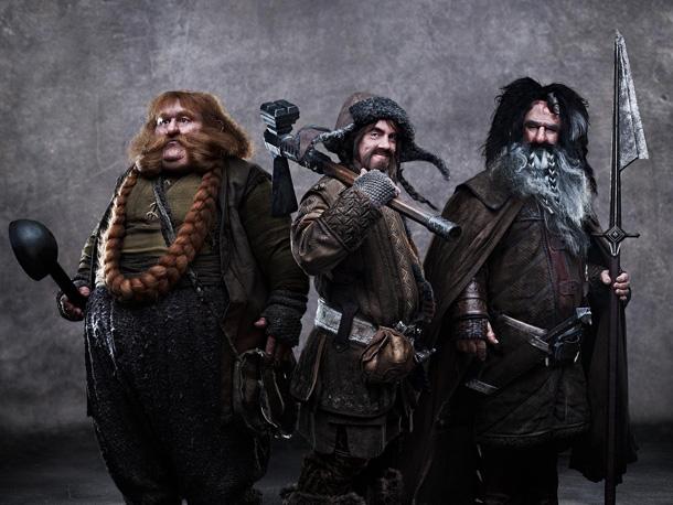STEPHEN HUNTER as Bombur, JAMES NESBITT as Bofur, and WILLIAM KIRCHER as Bifur