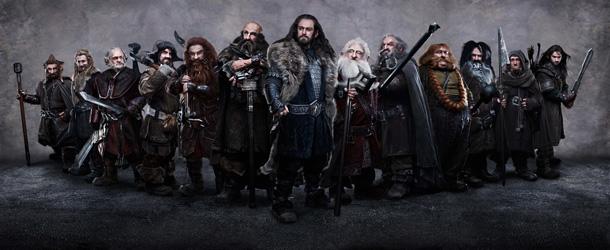 JED BROPHY as Nori, DEAN O'GORMAN as Fili, MARK HADLOW as Dori, JAMES NESBITT as Bofur, PETER HAMBLETON as Gloin, GRAHAM McTAVISH as Dwalin, RICHARD ARMITAGE as Thorin Oakenshield (center), KEN STOTT as Balin, JOHN CALLEN as Oin, STEPHEN HUNTER as Bombur, WILLIAM KIRCHER as Bifur, ADAM BROWN as Ori, and AIDAN TURNER as Kili