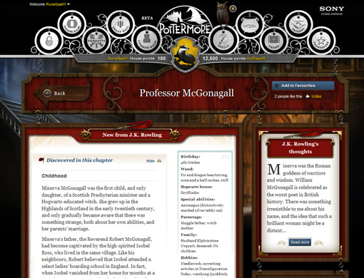 Peppered throughout Pottermore is additional background information on some favorite characters, locations, and events. Here's the Wiki-esque entry on that old battle-ax Professor McGonagall.