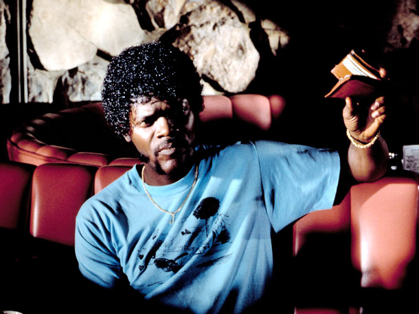 Samuel L. Jackson, Pulp Fiction (Movie - 1994) | The Jheri curl could go, for sure, but it was working with those lamb chops and that Zapata 'stache.