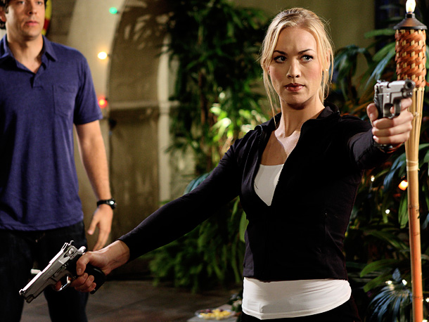 Fighting alongside her man and protecting him at the same time is all in a day's work for this CIA agent.— AW