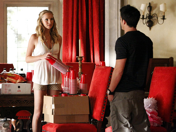 Candice Accola (Caroline) and Michael Trevino (Tyler)