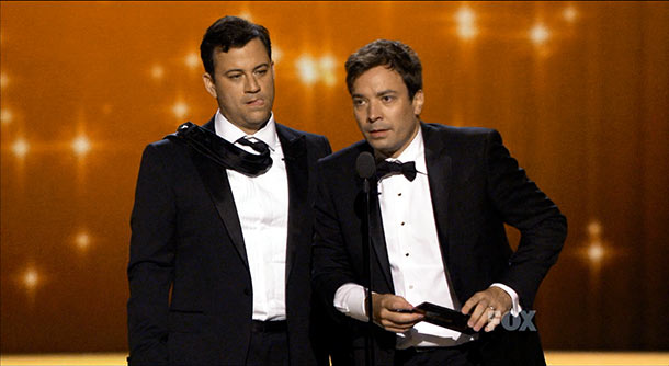 Emmy Awards   Jimmy Kimmel wrestled away Jimmy Fallon's Emmy acceptance speech and proceeded to embarrass him in front of millions by reading it aloud. But at least…