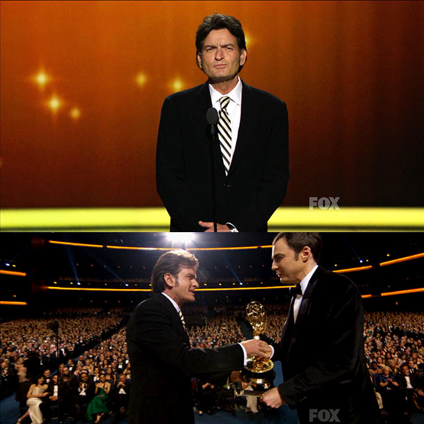 Emmy Awards   Charlie Sheen showed up, despite reports of behind-the-scenes efforts to keep him off the show, and everyone played nice. But his apology rang a little…