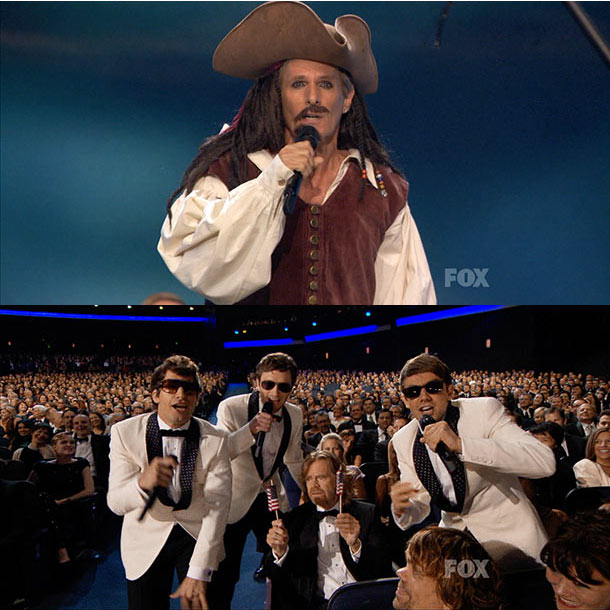 Emmy Awards   Michael Bolton is still Jack Sparrow's biggest fan and Andy Samberg's Lonely Island guys freaked-out on a patriotic William H. Macy during a medley of…