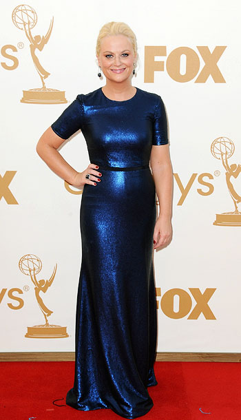 Amy Poehler | The Parks and Recreation star swapped Leslie Knope's pantsuit ensemble for a more fashion-forward Peter Som gown. B
