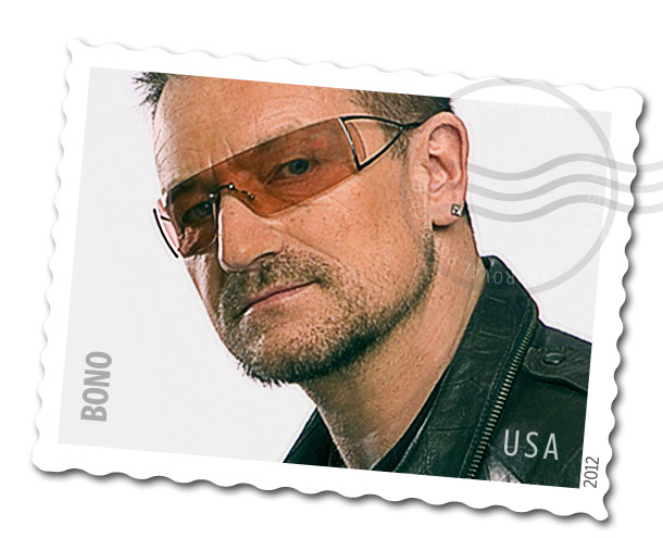 Bono | Just like Oprah, Bono sits pretty high in the ranks of important celebrities/humanitarians. The Bono stamp would be perfect for when you mail out all…