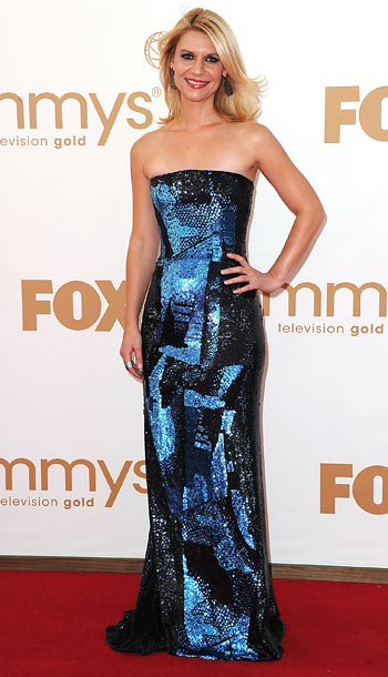 Claire Danes | She's fared well in sequin column gowns before , and once again, Danes shined in a geometric-print number by Oscar de la Renta. B
