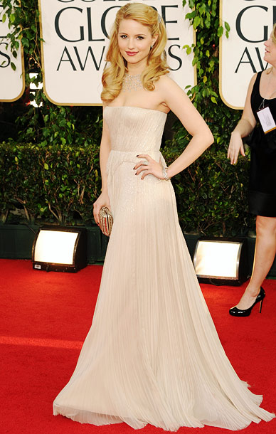 Golden Globe Awards 2011, Dianna Agron | The Glee star tends toward the romantic on the red carpet — but her edgier haircut could mean a new look altogether.