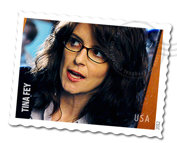 Tina Fey | Ideally, the Tina Fey stamp would have a picture of the 30 Rock star pointing down towards the address label with a quote bubble that…