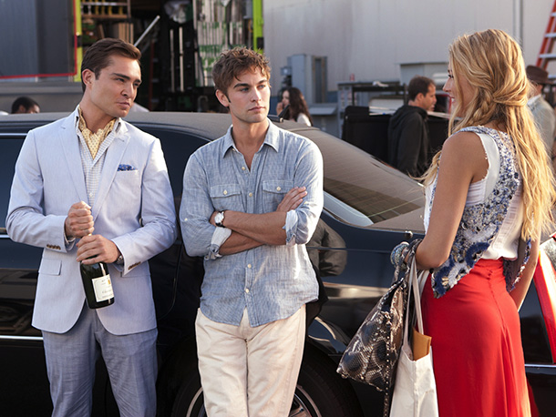 Ed Westwick, Chace Crawford, and Blake Lively