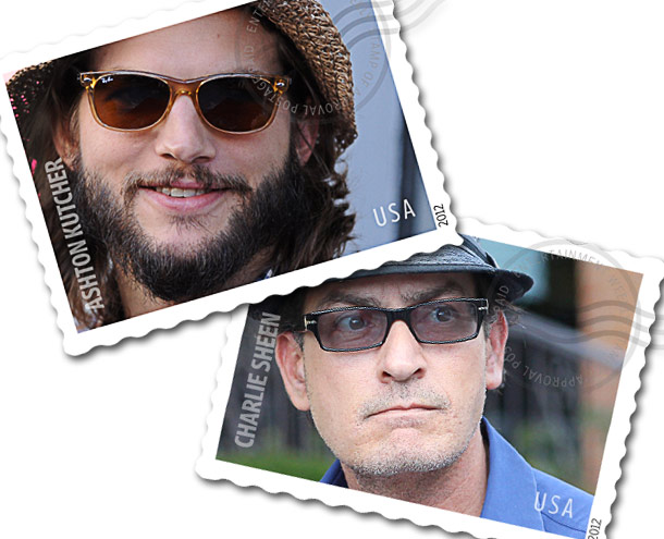 Charlie Sheen, Ashton Kutcher | It would be fascinating to see how a Charlie Sheen stamp (Caution: may taste like tiger blood) would fare against an Ashton Kutcher stamp. (Remember…