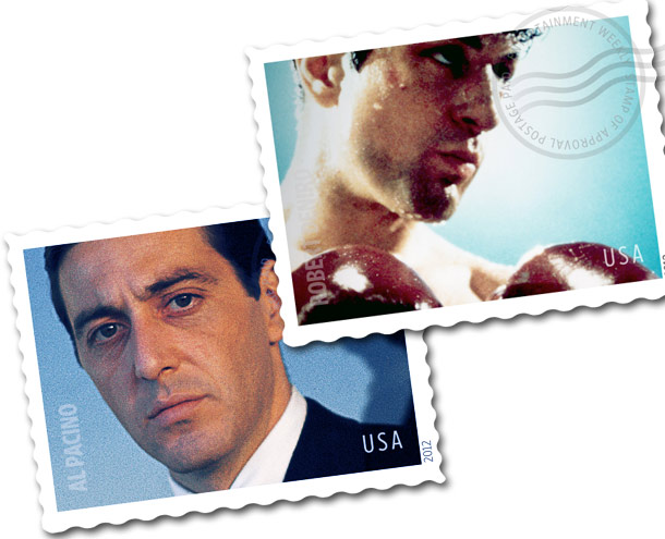 Al Pacino, Robert De Niro | Some sort of letter-writing campaign to the screen legends was probably in order anyway, so having Robert De Niro and Al Pacino stamps with images…