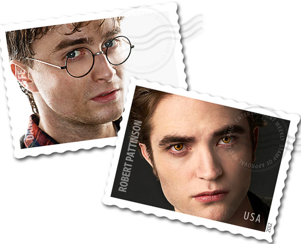 Daniel Radcliffe, Robert Pattinson | Pattinson's stamp would be sparkly, natch, and after one taste, you'll get to have that particular postage for all eternity! Come on, Harry Potter fans,…