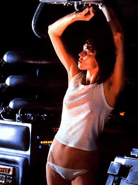 Sigourney Weaver, Alien | ''What's not to love about her character Ripley in Alien ? She's smart, strong, sexy, wears skimpy clothes, and kicks alien ass!''