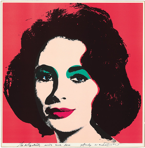 Andy Warhol portrait, 1964 offset lithograph in colors, signed in felt tip pen, ''to elizabeth with much love.'' It hung in her drawing room in…