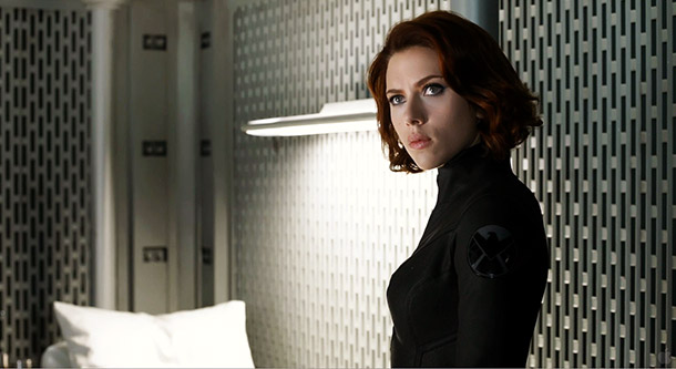 Scarlett Johansson's Black Widow sees Loki marching by a window in the custody of S.H.I.E.L.D. agents. She seems to be appalled. What are you looking…