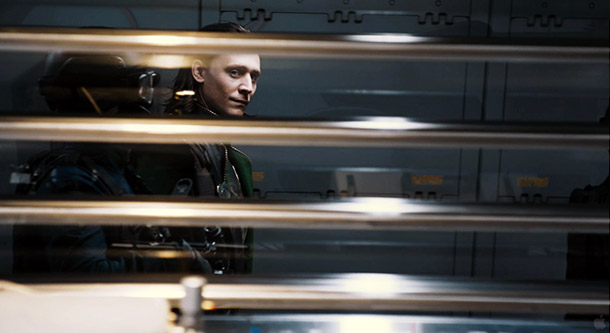 And the look on Loki's face says: Just your rockin' bod in that skin-tight black armor, baby.