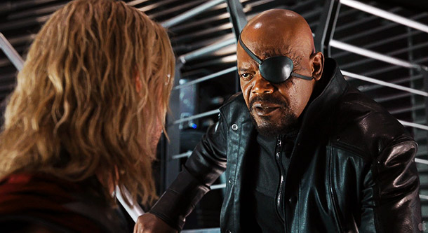 Nick Fury faces down Thor: Do you have a joke you'd like to share with the whole class Mr. Prince of Asgard?