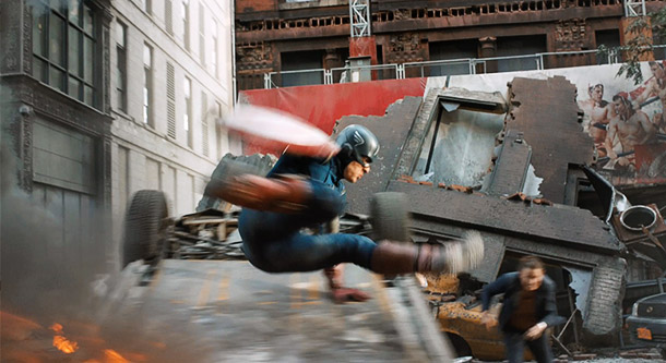 Watch out Captain America! Ouch! Hot crotch! Leap a little higher next time.