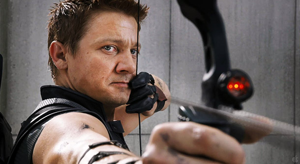 Jeremy Renner's Hawkeye shoots his bow into the air, and where it lands we know not where.
