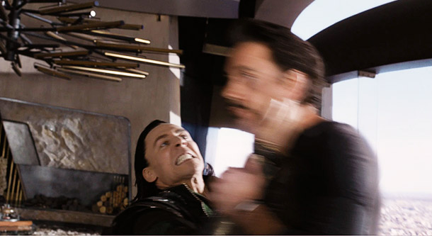 It's a little tough to see, but this is Loki throwing Tony Stark out a window.