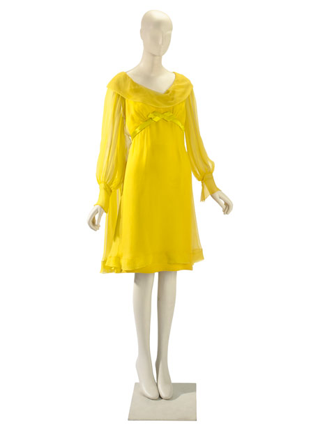 Taylor wore this yellow chiffon dress for her first marriage to Burton in 1964. Estimated value: $40,000-$60,000
