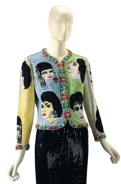 An Atelier Versace beaded evening bolero jacket dubbed ''The Face.'' Estimated value: $15,000-$20,000