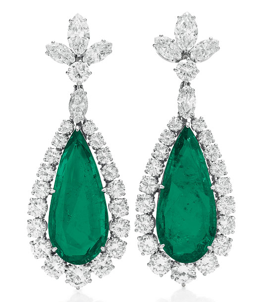 A pair of emerald and diamond ear pendants by Bvlgari. Estimated value: $150,000-$200,000