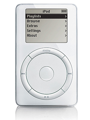 Oct. 23, 2001 The iPod is unveiled (suggested retail: $399) three months after Napster is shut down. Steve Jobs specifies that every one be wrapped…