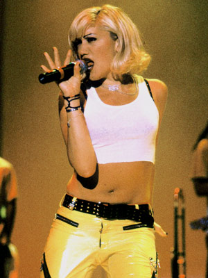 No Doubt, Gwen Stefani | The ska-popster took SoCal street style to the suburbs, popularizing white tanks, studded bra straps, bondage pants, and trackies.