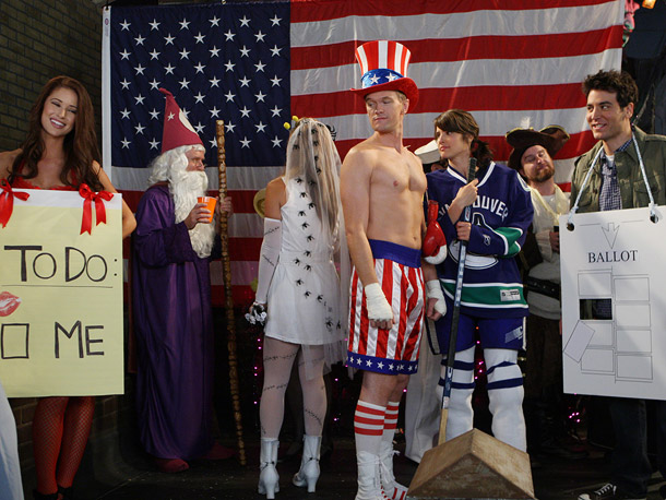 How I Met Your Mother, 10/31, Neil Patrick Harris as Apollo Creed in his Uncle Sam costume from Rocky IV, Cobie Smulders as a Vancouver Canuck hockey player, and Josh Radnor as a hanging chad