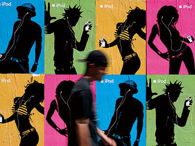 Sept. 2003 Ad agency TBWA/Chiat/Day debuts the long-running and iconic iPod silhouette ad campaign.