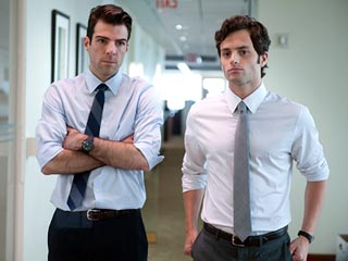 HIGH-STAKES Zachary Quinto and Penn Badgley in Margin Call