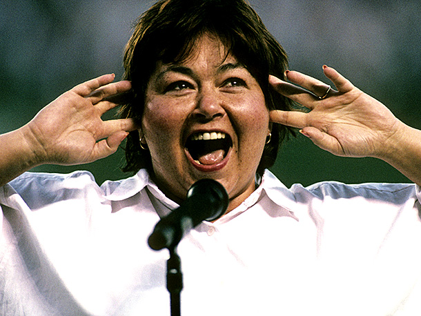 Roseanne Barr   Perhaps inspired by Barr's mellifluous cackle in her popular sitcom's opening credits , San Diego Padres bigwigs invited the comic to perform the pregame national…