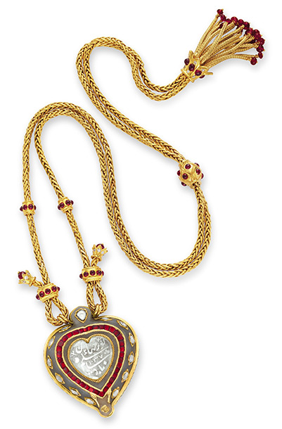 The Taj Mahal diamond pendant necklace, with ruby and gold chain by Cartier Estimated value: $300,000-$500,000
