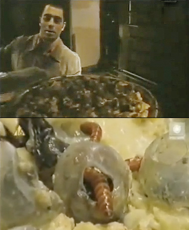 Fear Factor | Grossing us out was always a Fear Factor specialty, but this grotesque pizza took the cake. With a crust made from cow bile, coagulated blood…