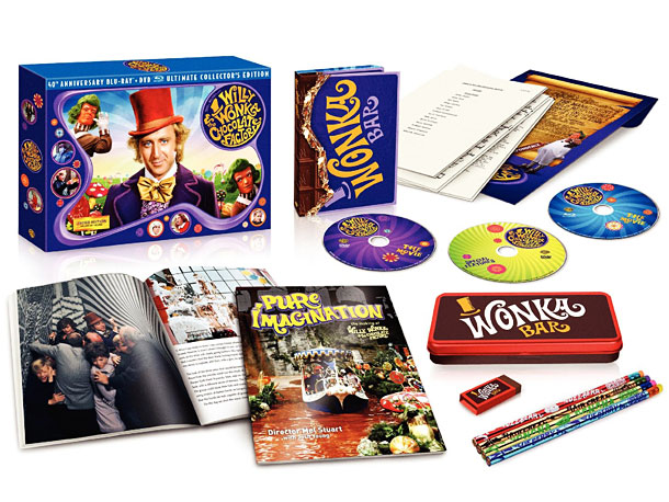 Willy Wonka and the Chocolate Factory | Gene Wilder's 1971 candyland kiddie classic makes its Blu-ray debut in this set loaded with collectible tchotchkes. Now in high-def, you'll swear the snozzberries taste…