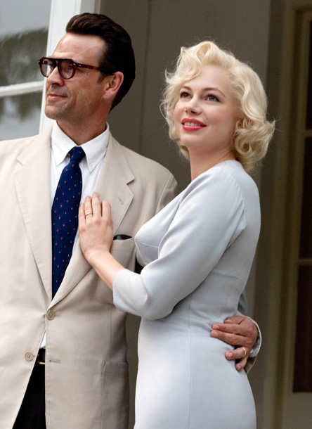 Michelle Williams (pictured here with Dougray Scott) plays Marilyn Monroe as she arrives in London to shoot 1957's The Prince and the Showgirl with Sir…