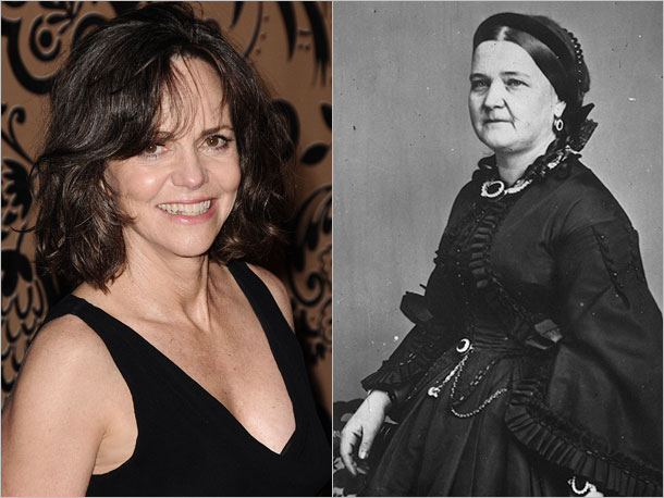 Sally Field as Mary Todd Lincoln, heartbroken and erratic First Lady of the United States