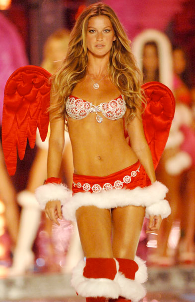 Gisele Bundchen, The Victoria's Secret Fashion Show | Honestly, all we see here is that distracting white Santa trim.