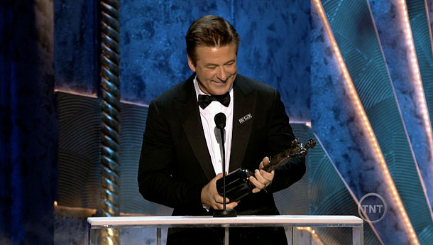Alec Baldwin, Screen Actors Guild Awards 2012 | Taking home his sixth consecutive statue for Best Actor in a TV Comedy, 30 Rock 's Alec Baldwin made a faux Surprised Face and exclaimed…