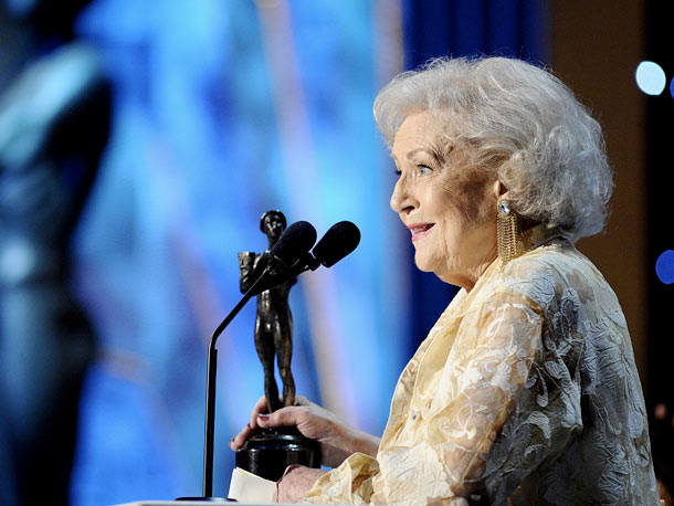 Betty White, Screen Actors Guild Awards 2012 | Betty White insisted that she shared her Best Actress in a TV Comedy award with her costars from Hot in Cleveland . Then again, she…
