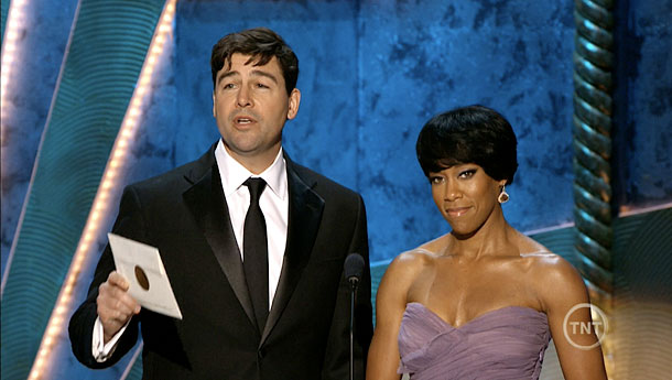 Regina King, Kyle Chandler, ... | While presenting the award for Best Actress in a TV Comedy, Kyle Chandler revealed that nominee Edie Falco began her career by acting as Cookie…