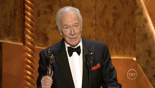 Christopher Plummer, Screen Actors Guild Awards 2012 | Beginners star Christopher Plummer honored his first SAG award for Best Supporting Actor by thanking his wife Elaine, whom he has credited with helping him…