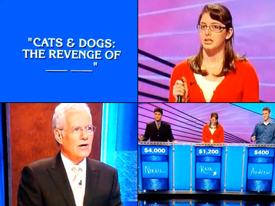 Jeopardy! | We're not sure why contestant Raya decided to prematurely answer this question about the full title of the film, Cats & Dogs , but we're…