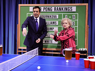 Betty White | On Jimmy Fallon (2009) White played beer Pong with the host and helped him break his losing streak... and had no problem knocking back a…