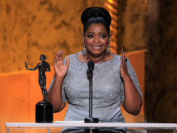 Octavia Spencer, Screen Actors Guild Awards 2012 | Winning for her supporting role in The Help , Octavia Spencer teared up, thanked slain Civil Rights activist Medgar Evers, and dedicated her award to…