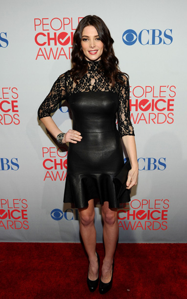 Ashley Greene, People's Choice Awards | The problem with this dress falls somewhere between the half-lace, half-leather, half-sleeves, and half-skirt. Next time, we suggest choosing one style and sticking to it.…